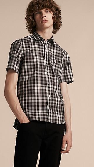 Chemise à manches courtes en coton à motif vichy
