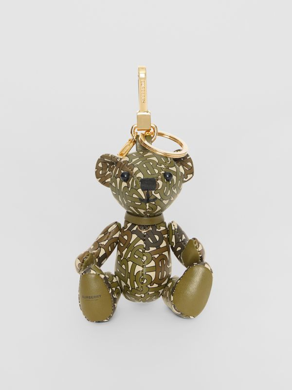 Thomas Bear Charm in Monogram Print Leather in Khaki Green | Burberry - cell image 2