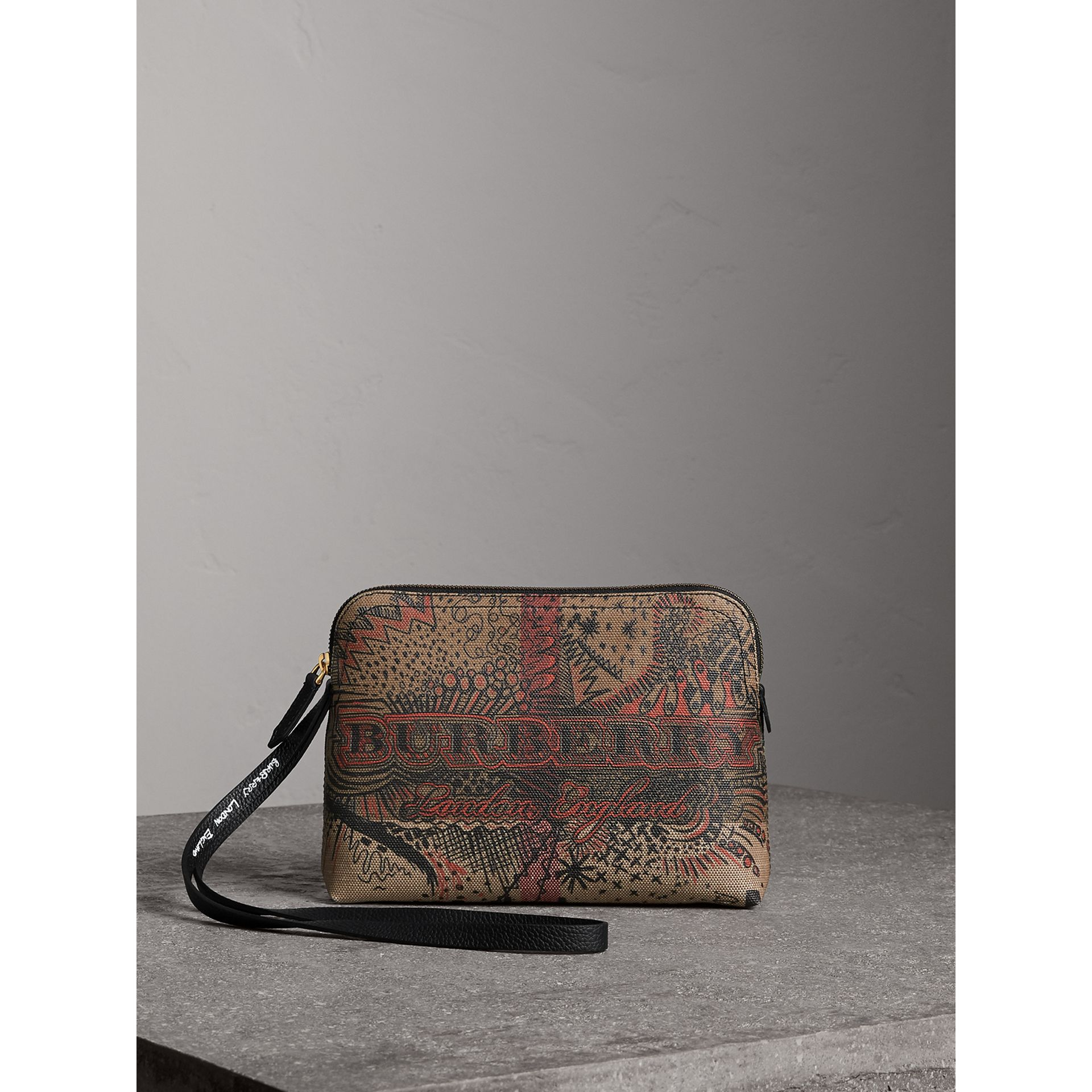 Large Doodle Print Coated Check Canvas Pouch in Classic Check/black - Women | Burberry - gallery image 1