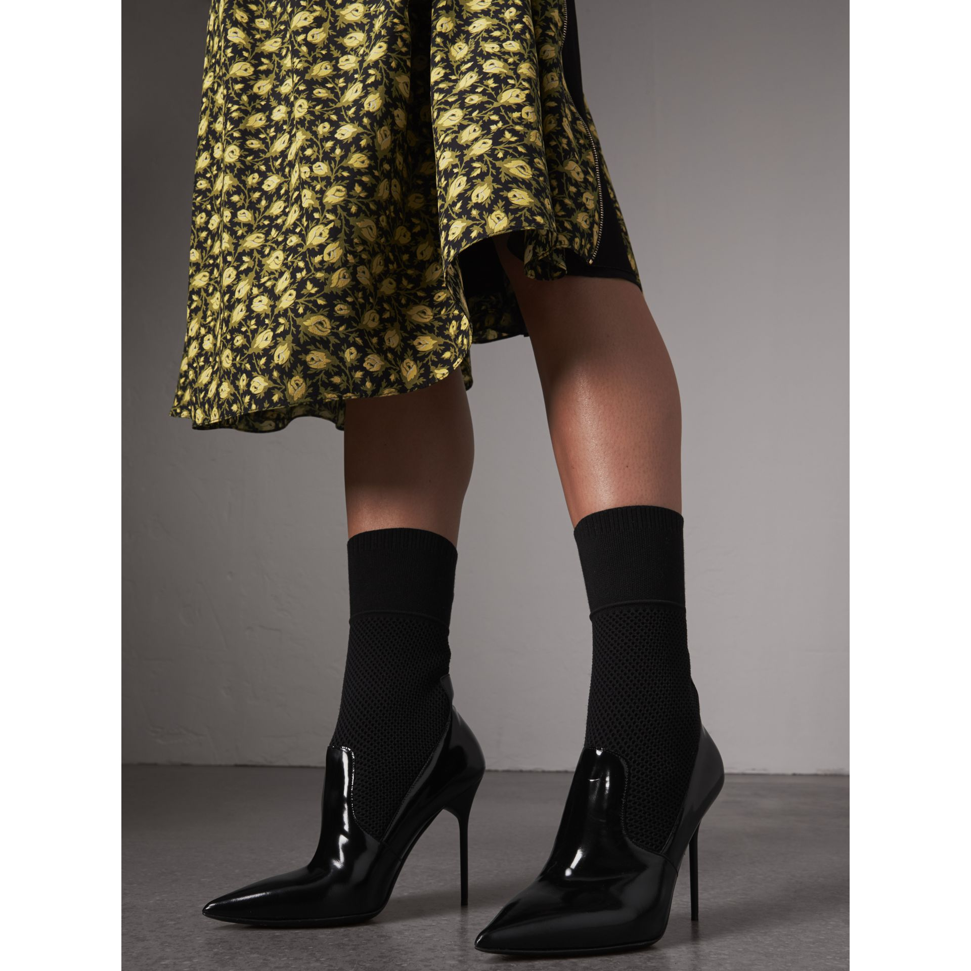 Mid-calf Patent Leather and Knitted Mesh Boots in Black - Women | Burberry - gallery image 3