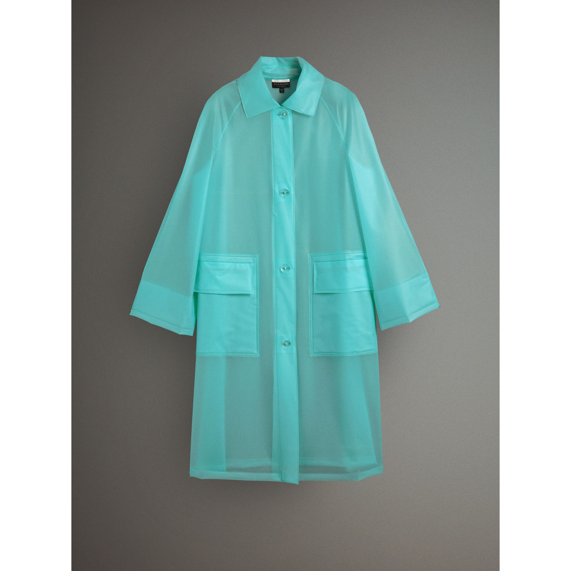 Soft-touch Plastic Car Coat in Turquoise - Women | Burberry - gallery image 4