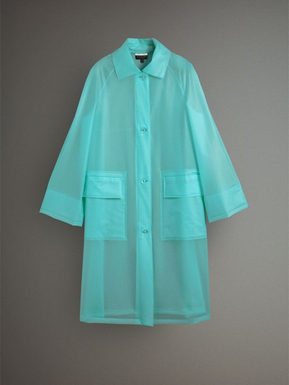 Soft-touch Plastic Car Coat in Turquoise - Women | Burberry - cell image 3