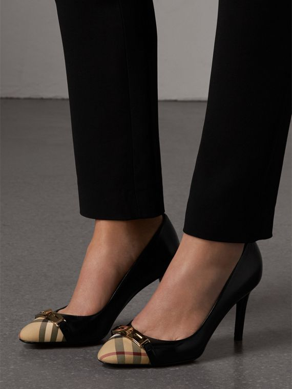 Horseferry Check Leather Pumps in Black - Women | Burberry Canada - cell image 2