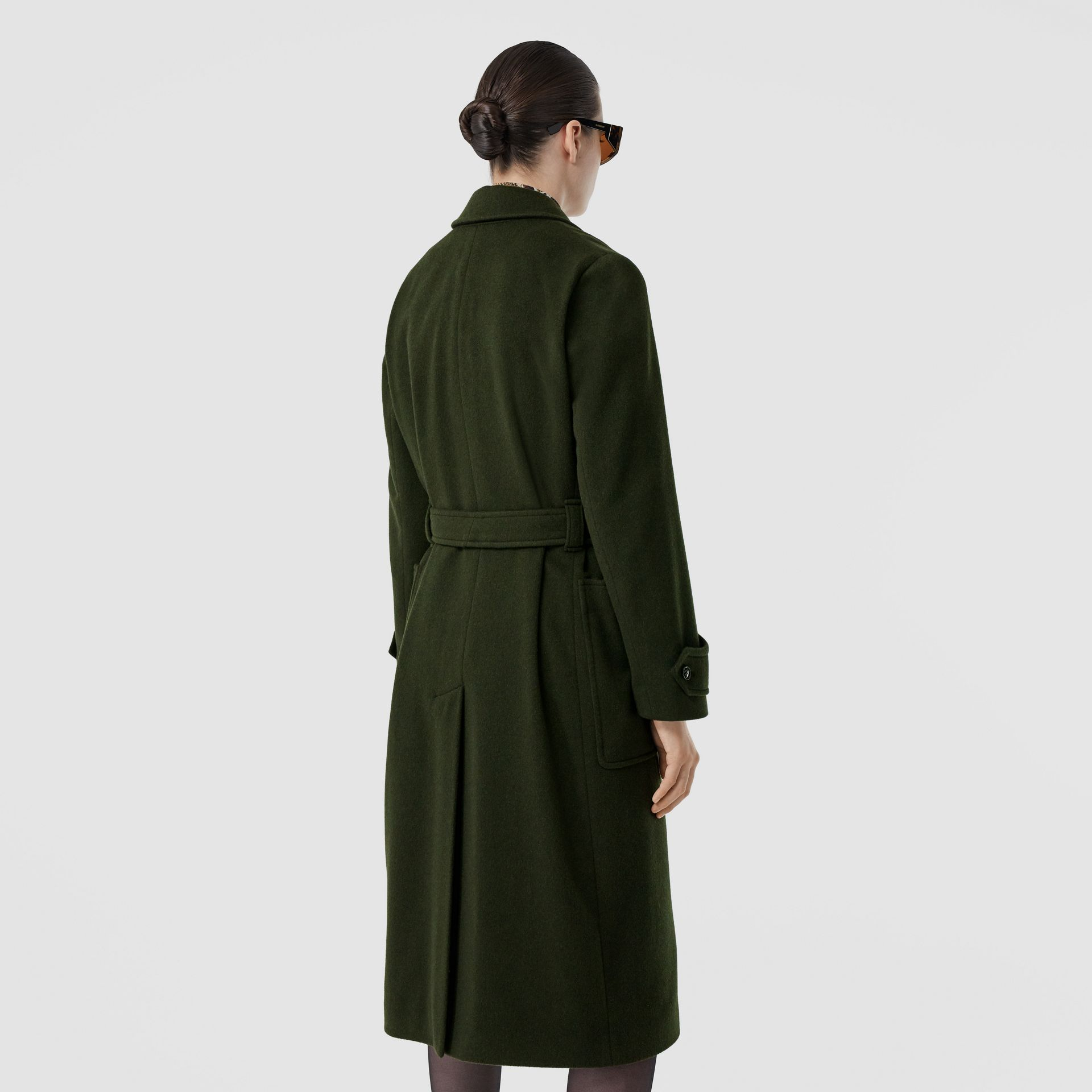 Cashmere Wrap Coat in Forest Green - Women | Burberry - gallery image 2