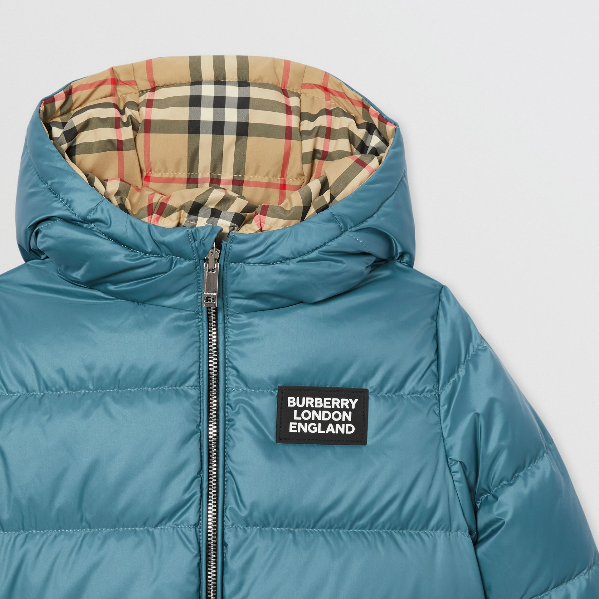 Reversible Vintage Check Down-filled Puffer Jacket in Dusty Blue - Children | Burberry Canada - gallery image 6