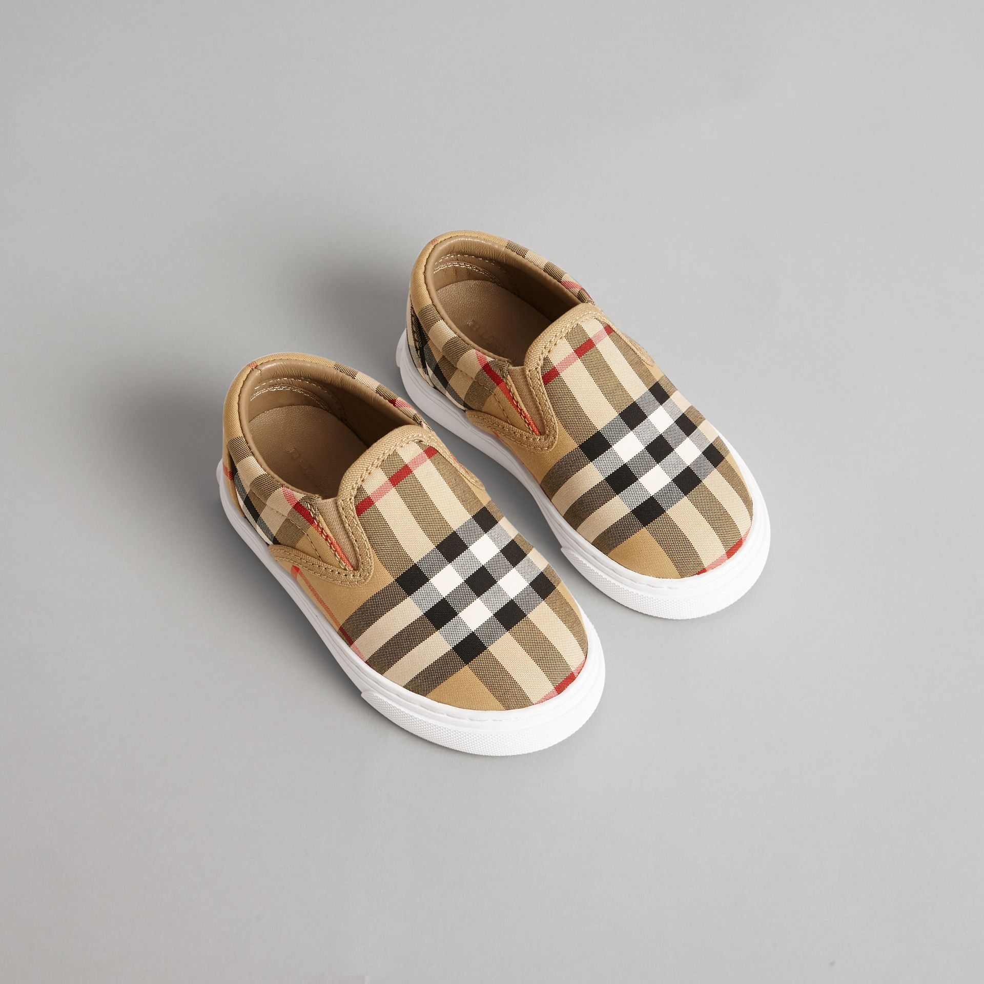 Vintage Check and Leather Slip-on Sneakers in Antique Yellow/optic White | Burberry Canada - gallery image 0