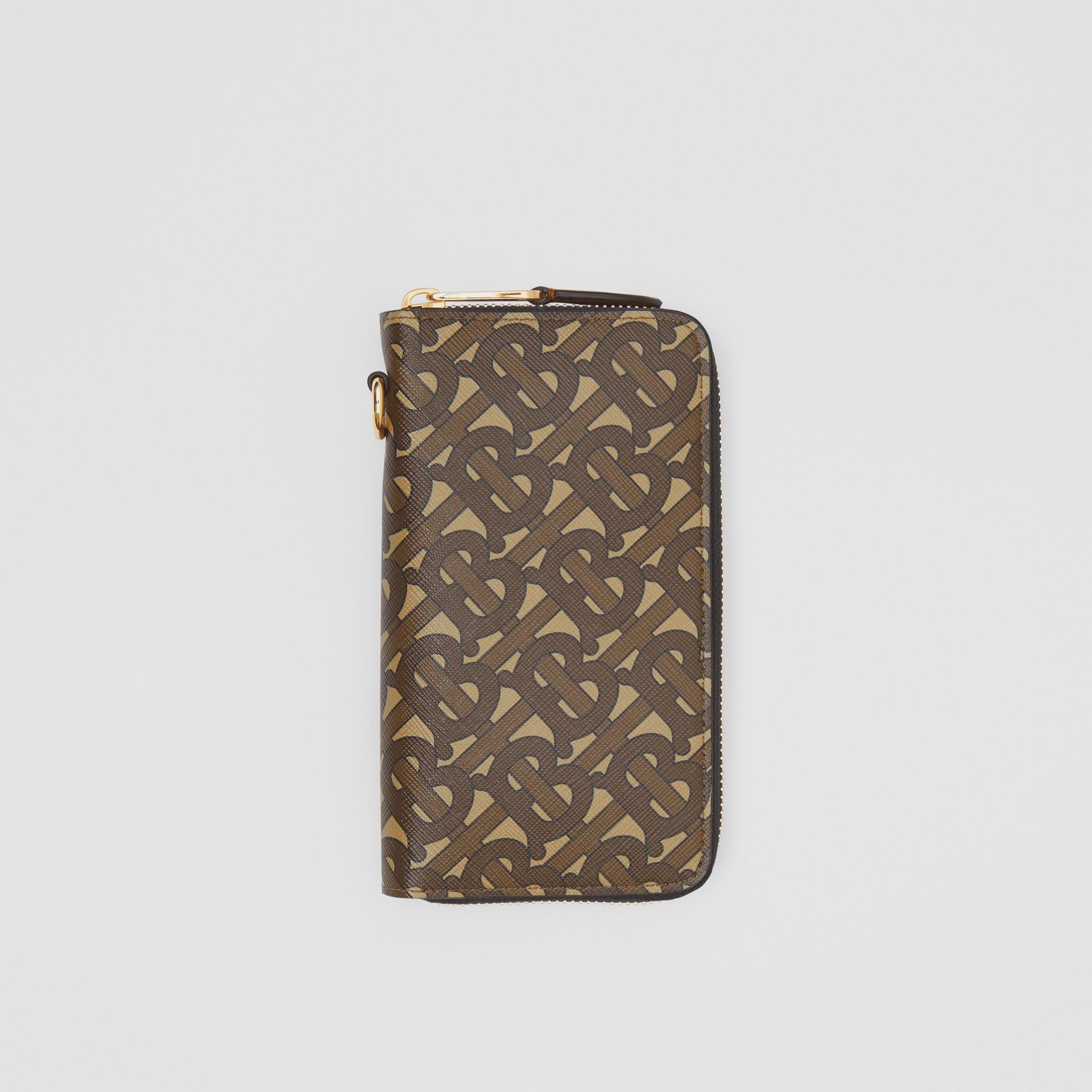 모노그램 프린트 E-캔버스 휴대폰 지갑 (브라이들 브라운) - 남성 | Burberry - 갤러리 이미지 0