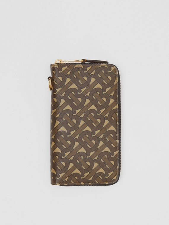 Monogram Print E-canvas Phone Wallet in Bridle Brown