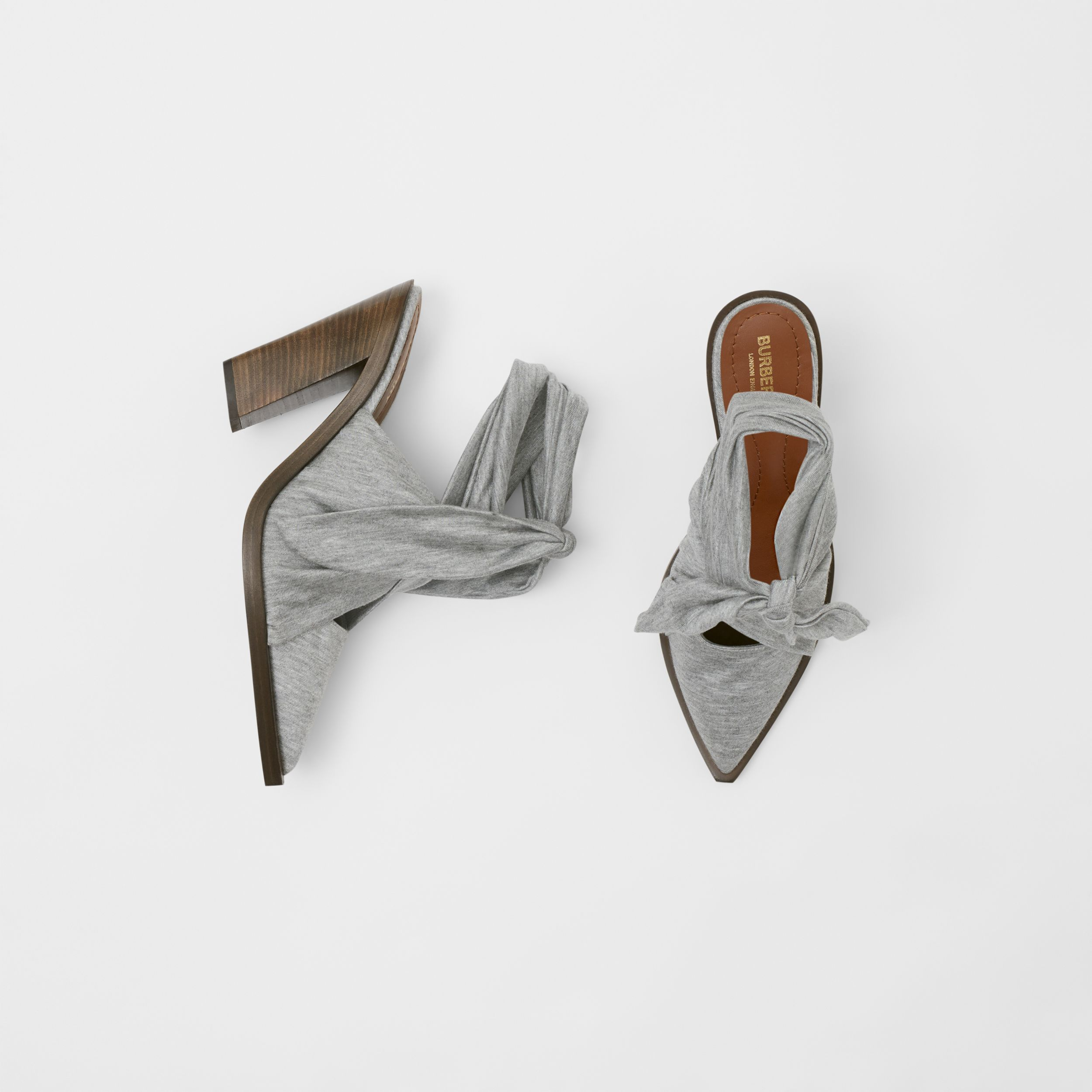 Scarf Tie Detail Jersey Point-toe Mules in Pewter Melange - Women | Burberry - 1