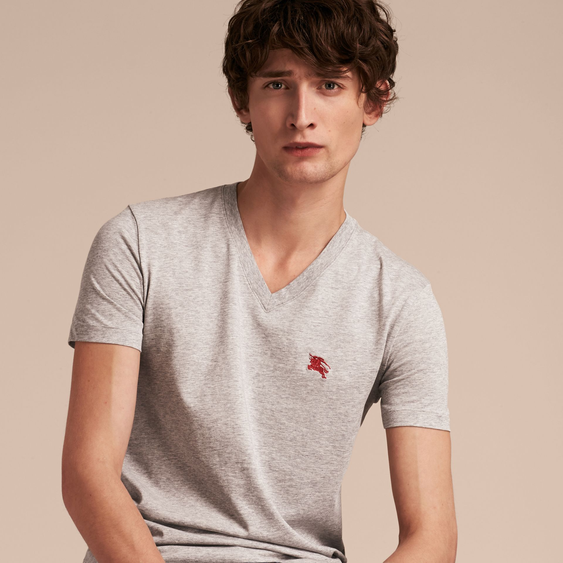 Cotton V-neck T-shirt in Pale Grey Melange - Men | Burberry - gallery image 6