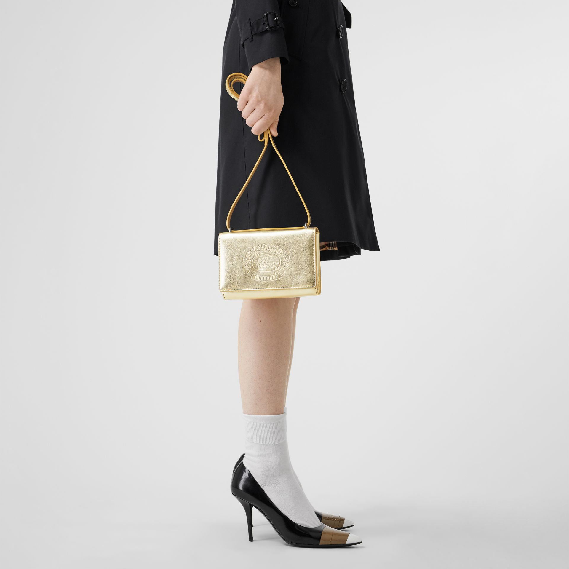 Embossed Crest Metallic Leather Wallet with Detachable Strap in Gold - Women | Burberry United States - gallery image 2
