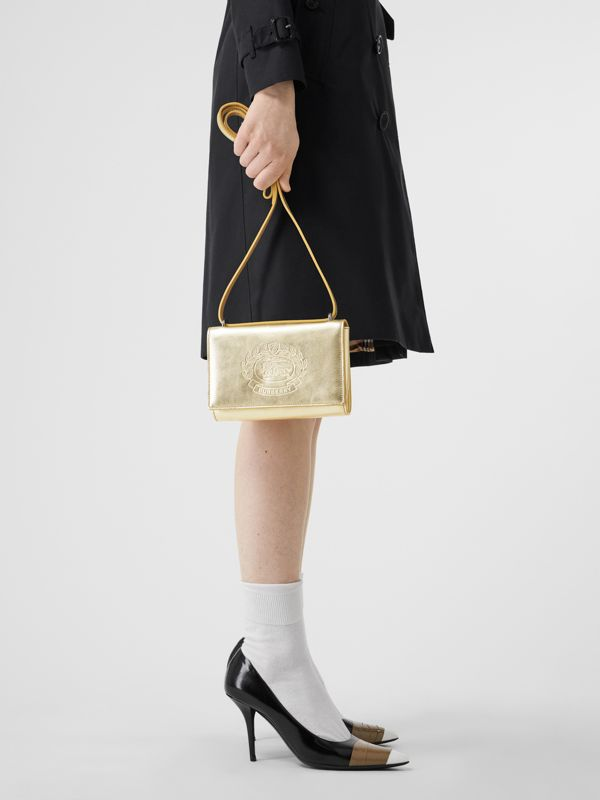 Embossed Crest Metallic Leather Wallet with Detachable Strap in Gold - Women | Burberry United States - cell image 2