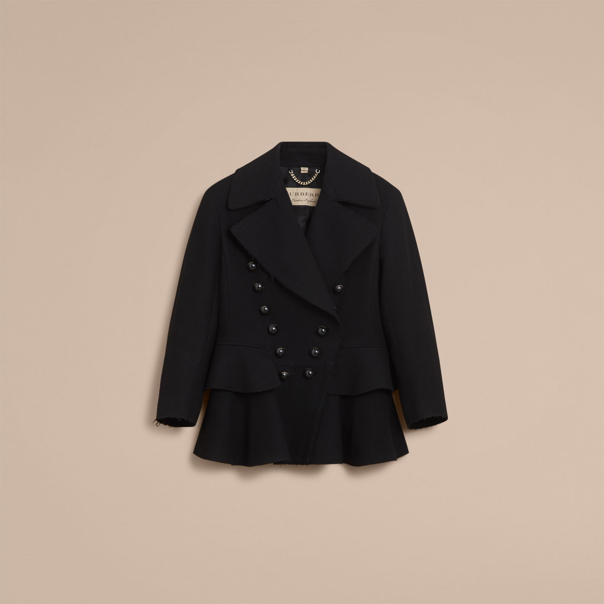 Wool Blend Peplum Jacket in Black - Women | Burberry - gallery image 3