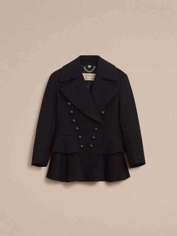 Wool Blend Peplum Jacket in Black - Women | Burberry - cell image 2