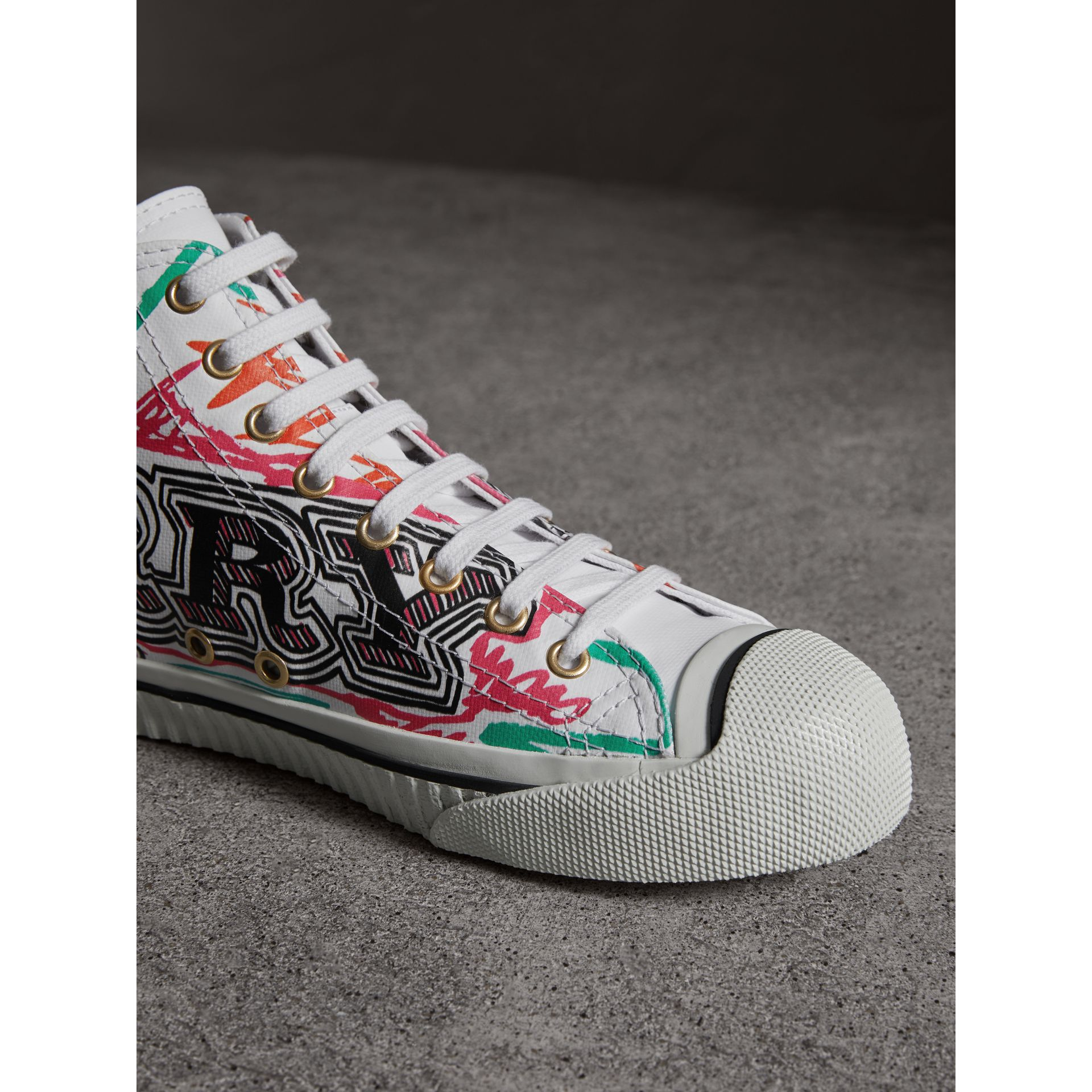 Doodle Print Coated Cotton High-top Sneakers in Optic White - Women | Burberry - gallery image 1