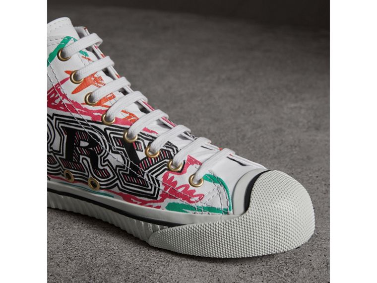 Doodle Print Coated Cotton High-top Sneakers in Optic White - Women | Burberry - cell image 1