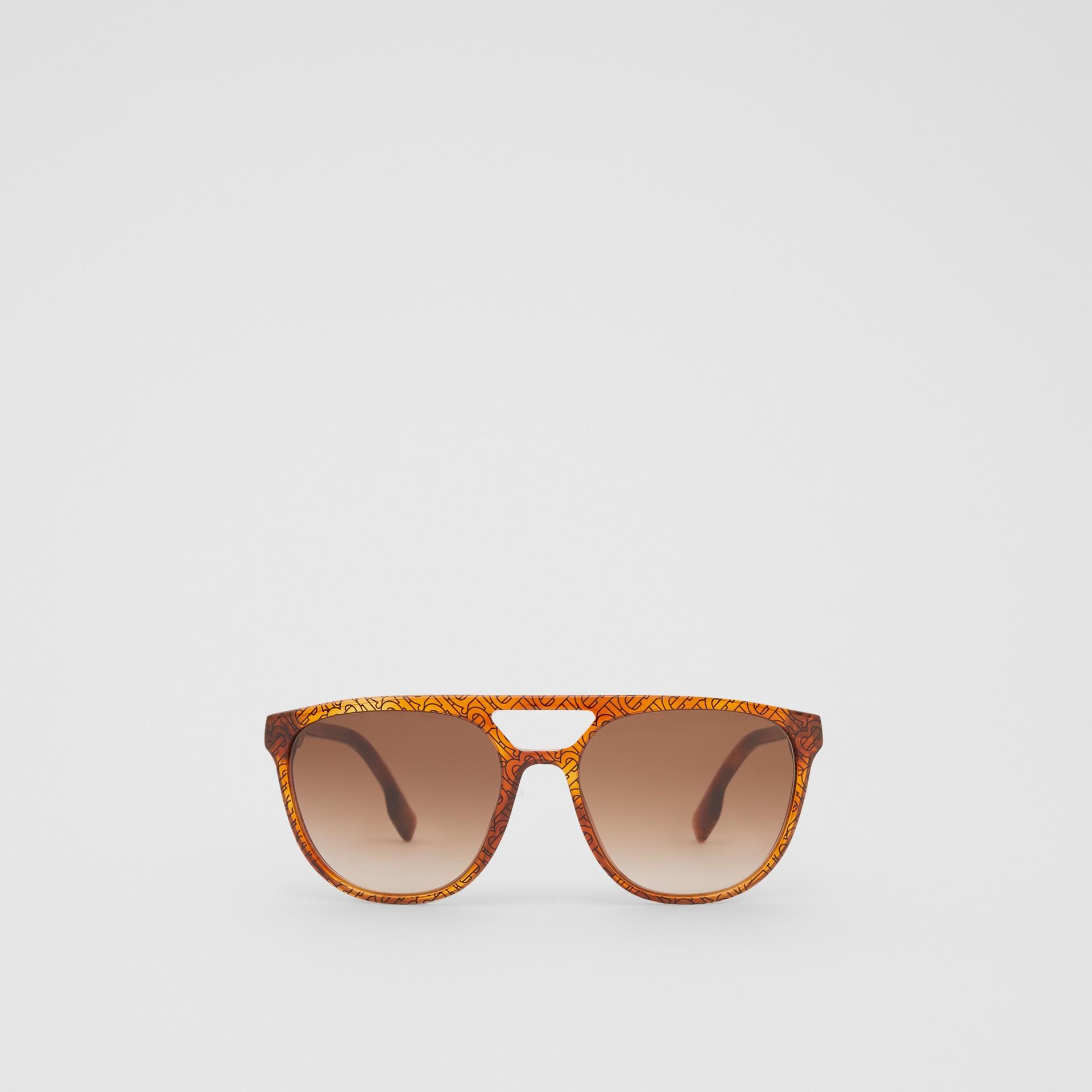 Navigator Sunglasses in Tortoiseshell Amber - Men | Burberry - gallery image 0