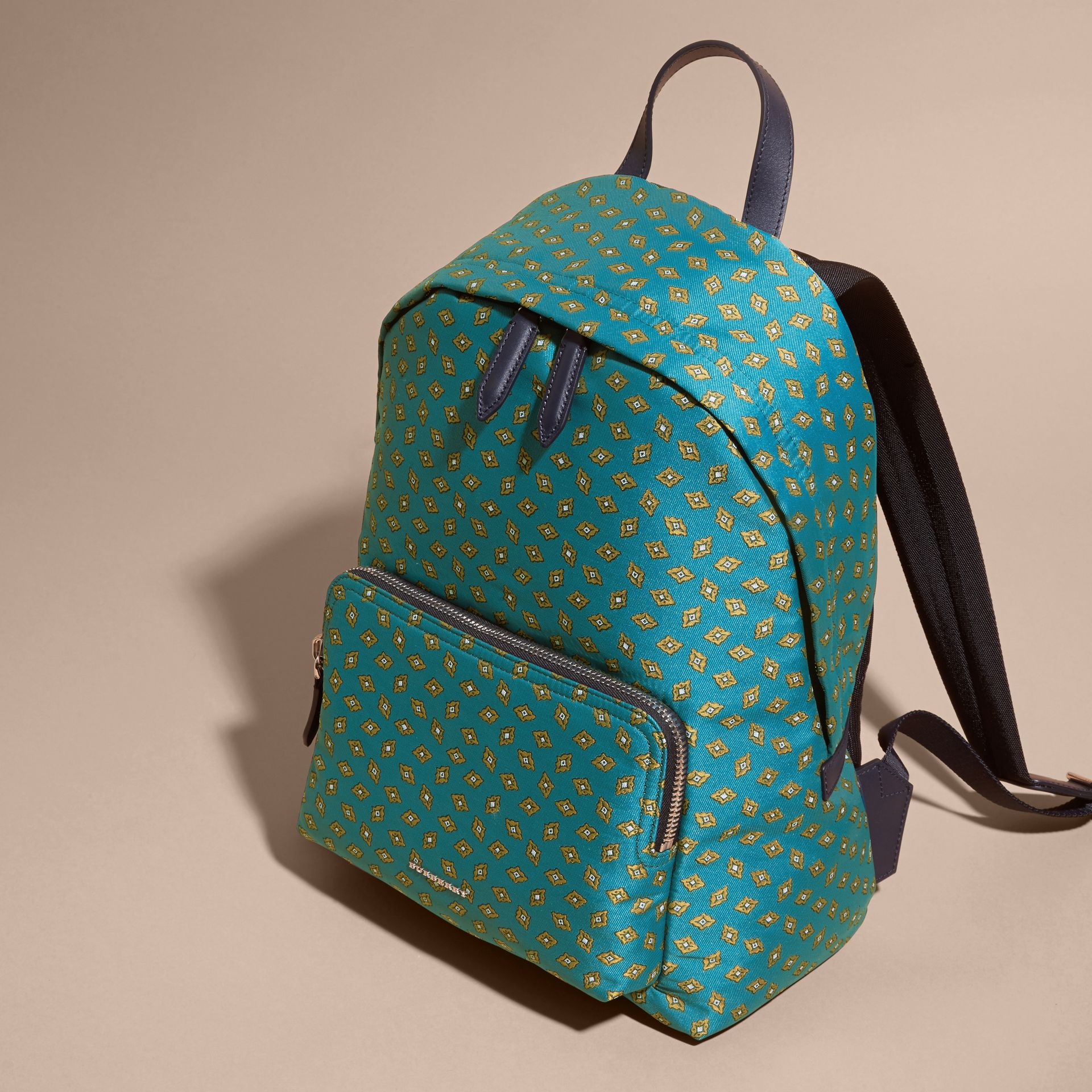 Dark teal Leather Trim Abstract Jacquard Backpack Dark Teal - gallery image 7