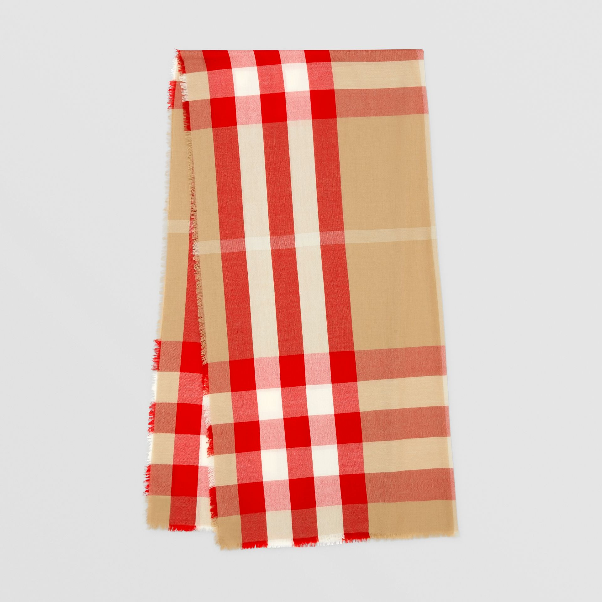 Lightweight Check Cashmere Scarf in Archive Beige/red | Burberry United Kingdom - gallery image 0