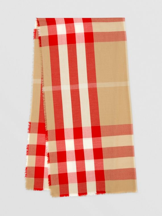 Lightweight Check Cashmere Scarf in Archive Beige/red
