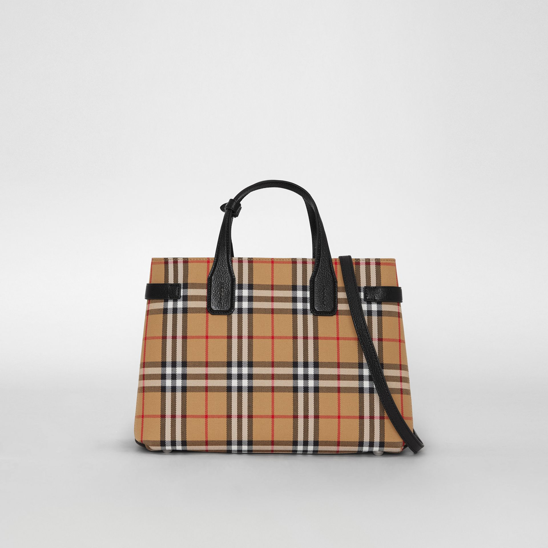 The Banner media in pelle con motivo Vintage check (Nero) - Donna | Burberry - immagine della galleria 0