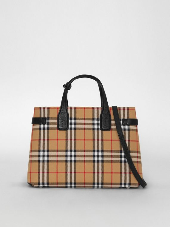 The Banner media in pelle con motivo Vintage check (Nero)