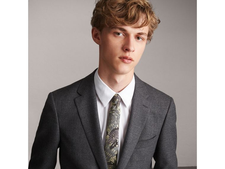 Slim Cut Beasts Silk Jacquard Tie in Pale Carbon Blue - Men | Burberry - cell image 2