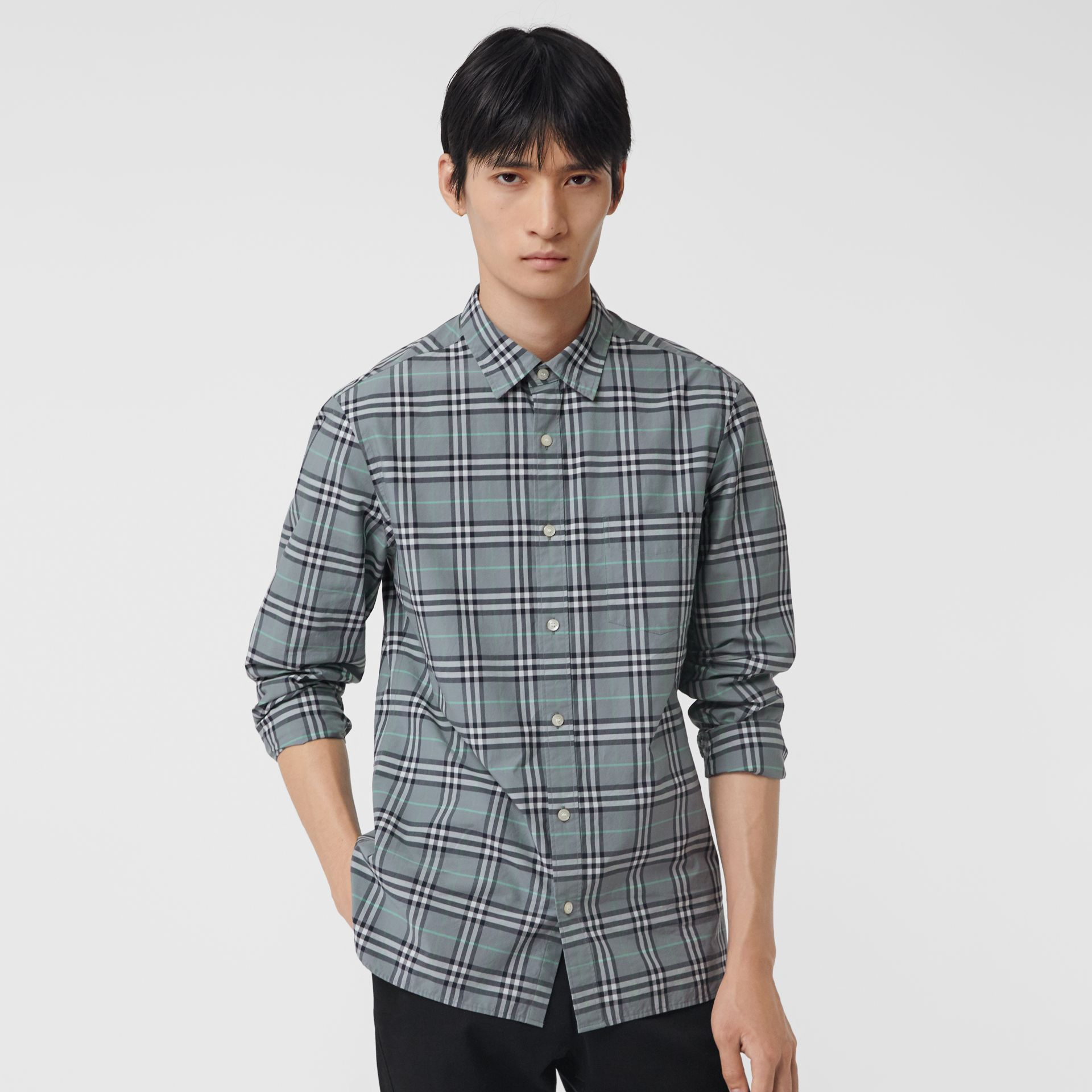 Check Cotton Shirt in Stone Blue - Men | Burberry - gallery image 0