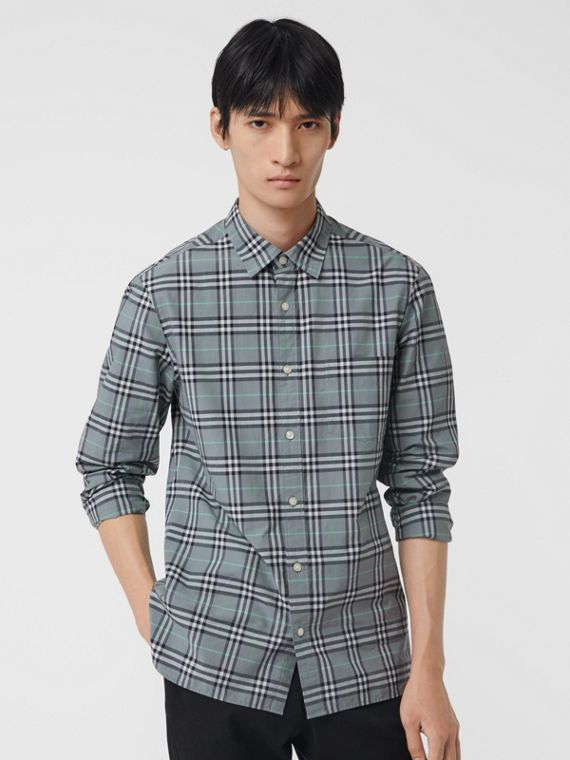 Check Cotton Shirt in Stone Blue