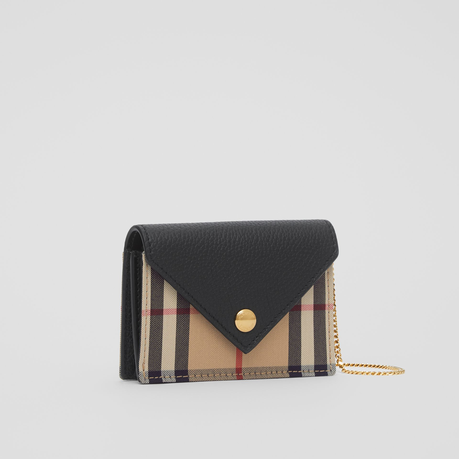 Vintage Check and Leather Card Case with Strap in Black - Women | Burberry United Kingdom - gallery image 4