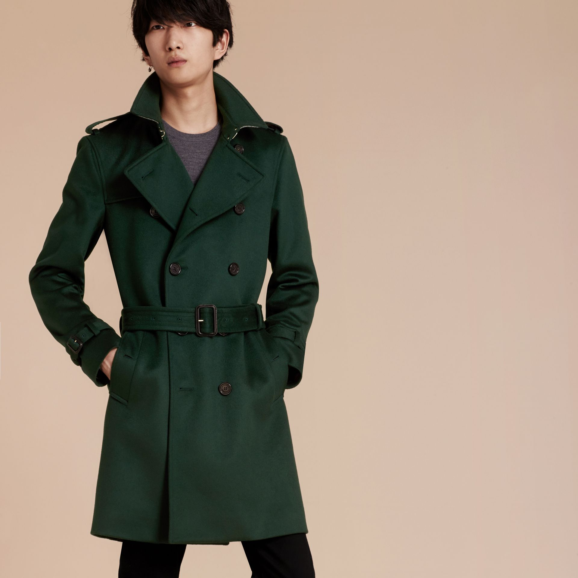 Dark military green Cashmere Trench Coat Dark Military Green - gallery image 8