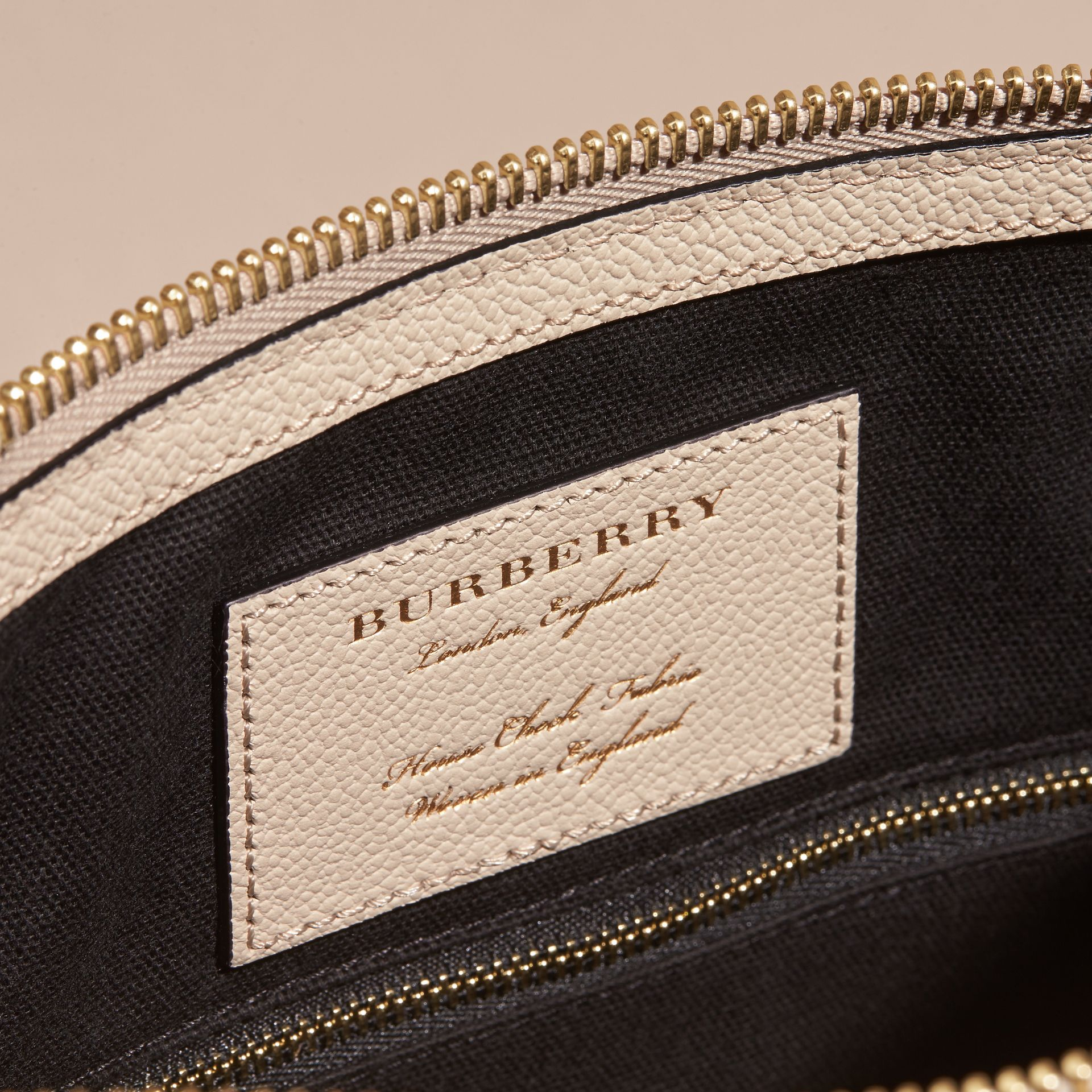 Buckle Detail Leather and House Check Crossbody Bag in Limestone - Women | Burberry - gallery image 5