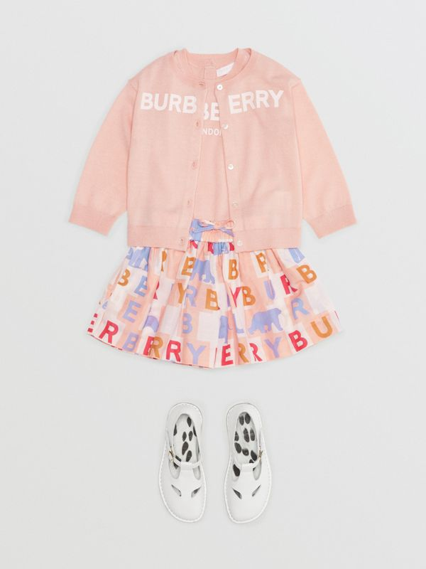 Logo Print Cashmere Two-piece Set in Pale Rose Pink - Children | Burberry - cell image 2