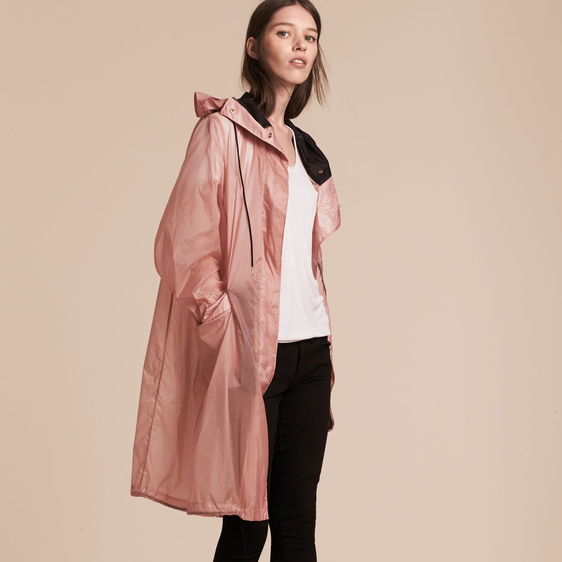 Hooded Lightweight Oversize Parka Ash Rose - gallery image 7