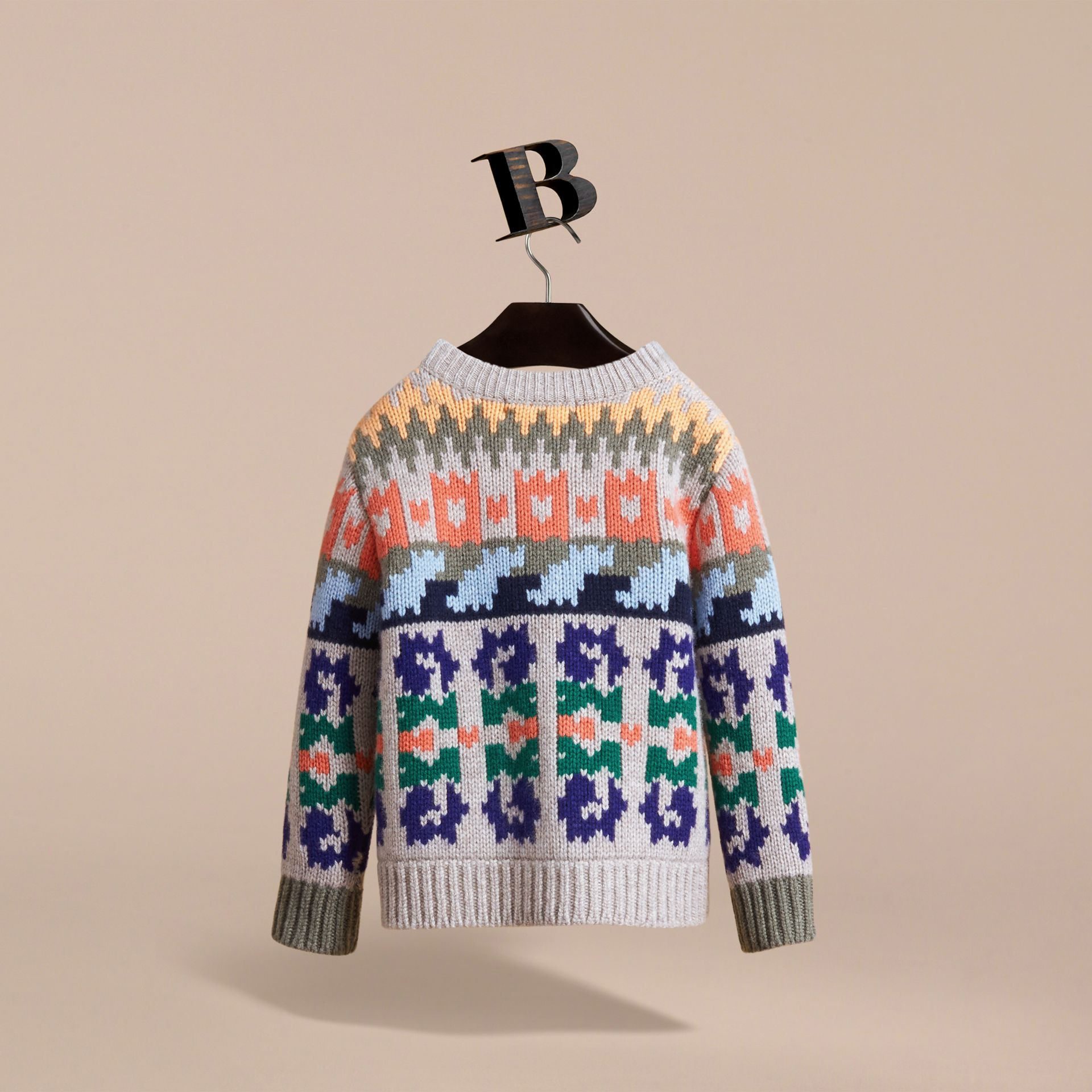 Exploded Fair Isle Wool Cashmere Sweater in Pale Cinnamon - Boy | Burberry Australia - gallery image 4