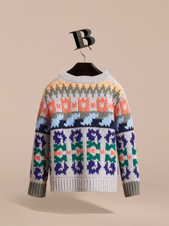 Exploded Fair Isle Wool Cashmere Sweater in Pale Cinnamon - Boy | Burberry Australia - cell image 3