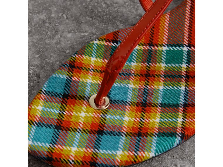 Vintage Check and Leather Sandals in Orange Red - Women | Burberry - cell image 1