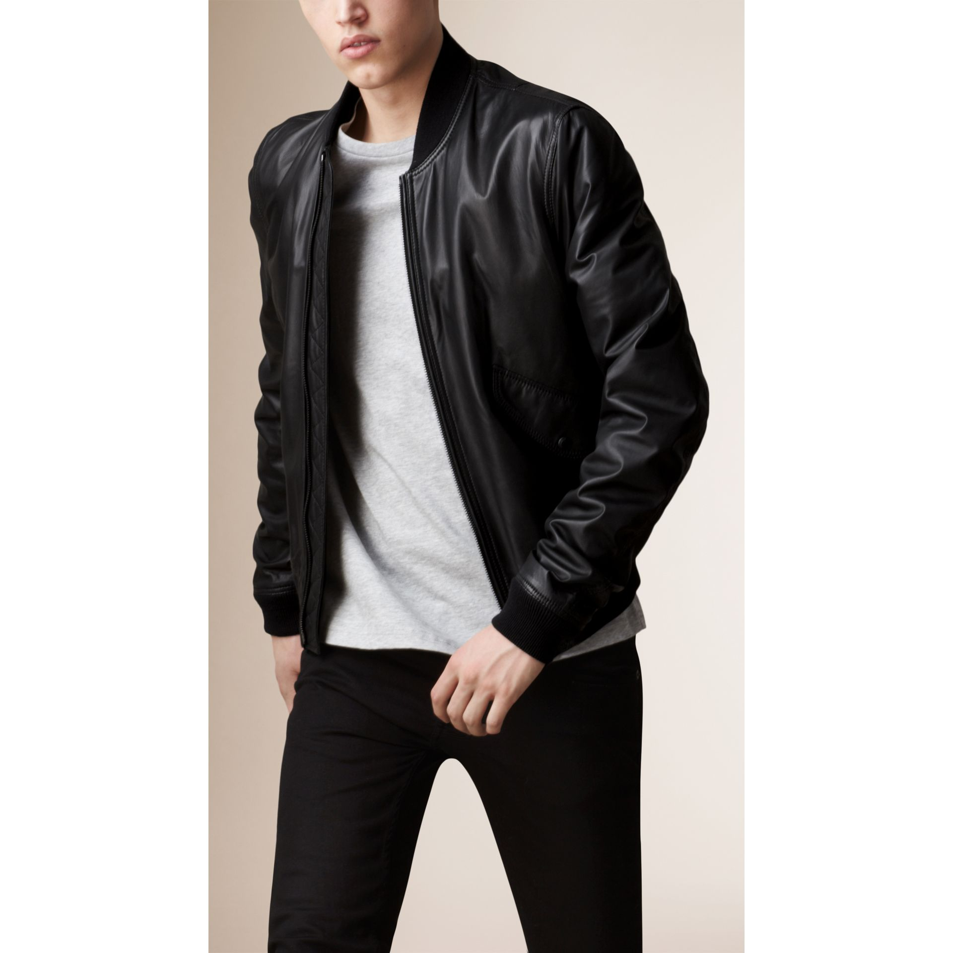 Nappa Leather Bomber Jacket - gallery image 1