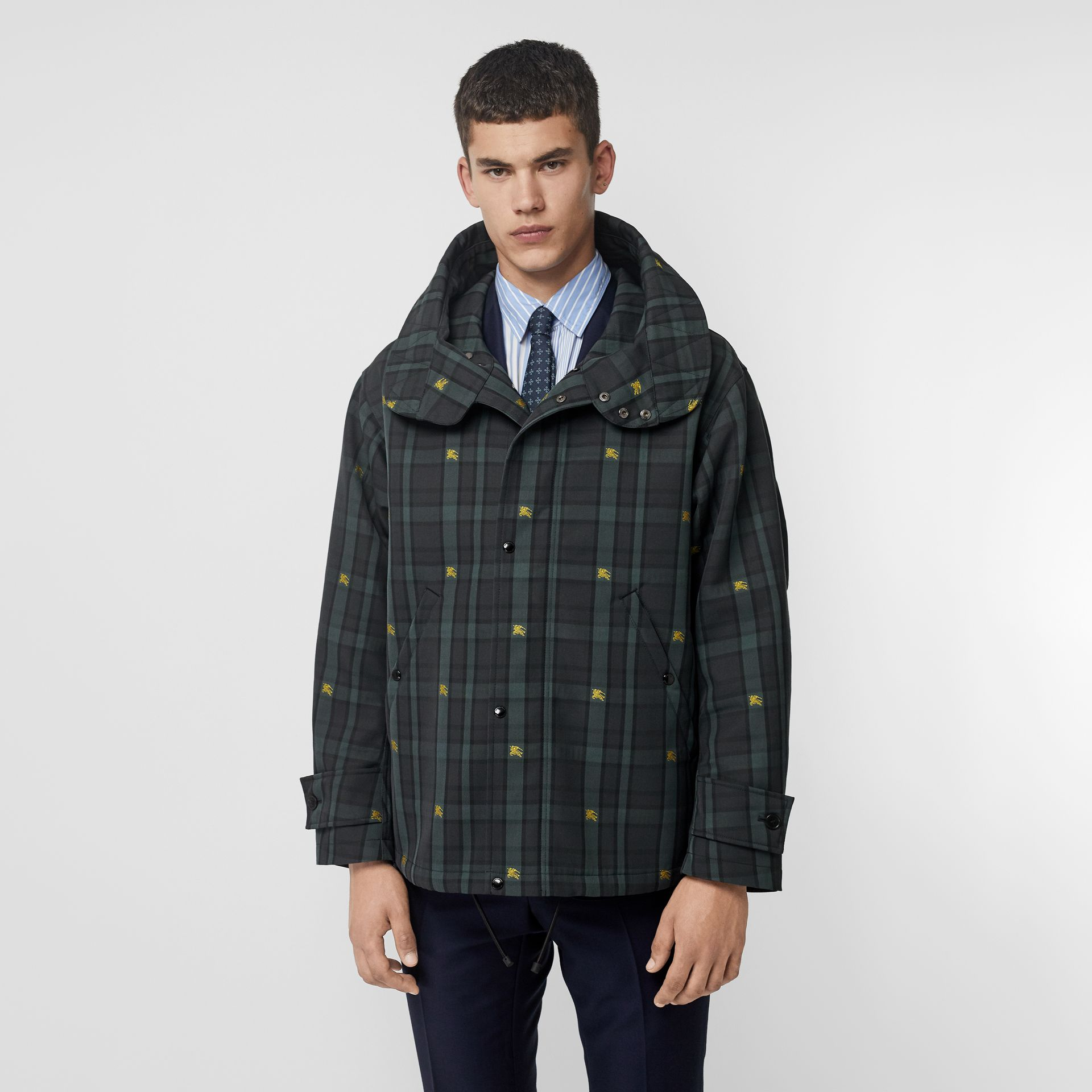 Equestrian Knight Check Nylon Hooded Jacket in Dark Cyan - Men | Burberry United Kingdom - gallery image 5