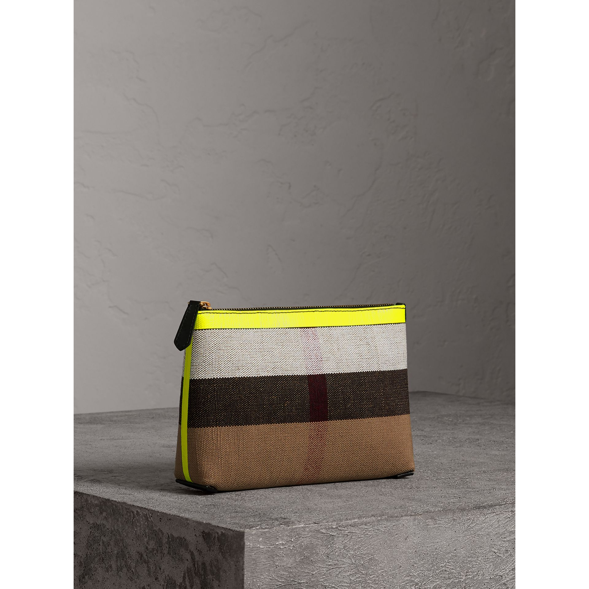 Medium Check Canvas and Leather Zip Pouch in Black/neon Yellow - Women | Burberry - gallery image 6