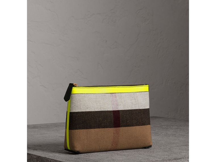 Medium Check Canvas and Leather Zip Pouch in Black/neon Yellow - Women | Burberry - cell image 4