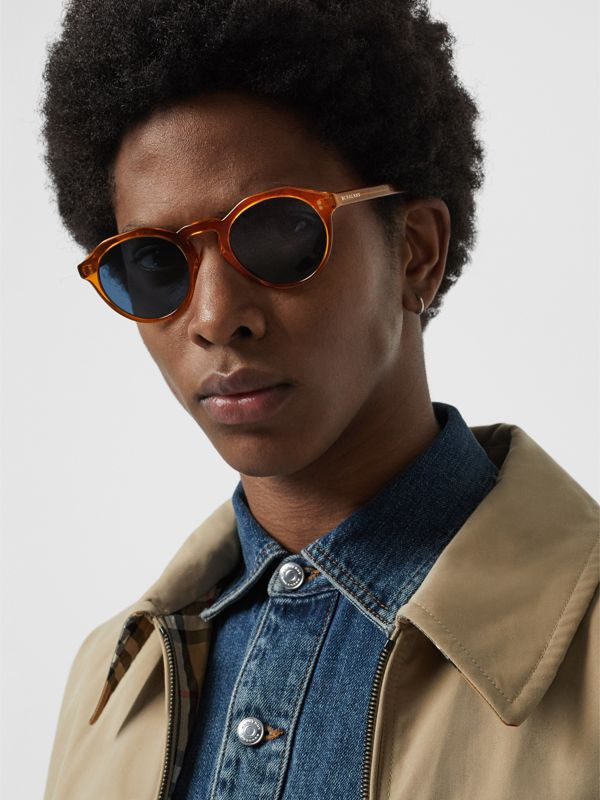 Keyhole Round Frame Sunglasses in Orange - Men | Burberry - cell image 2