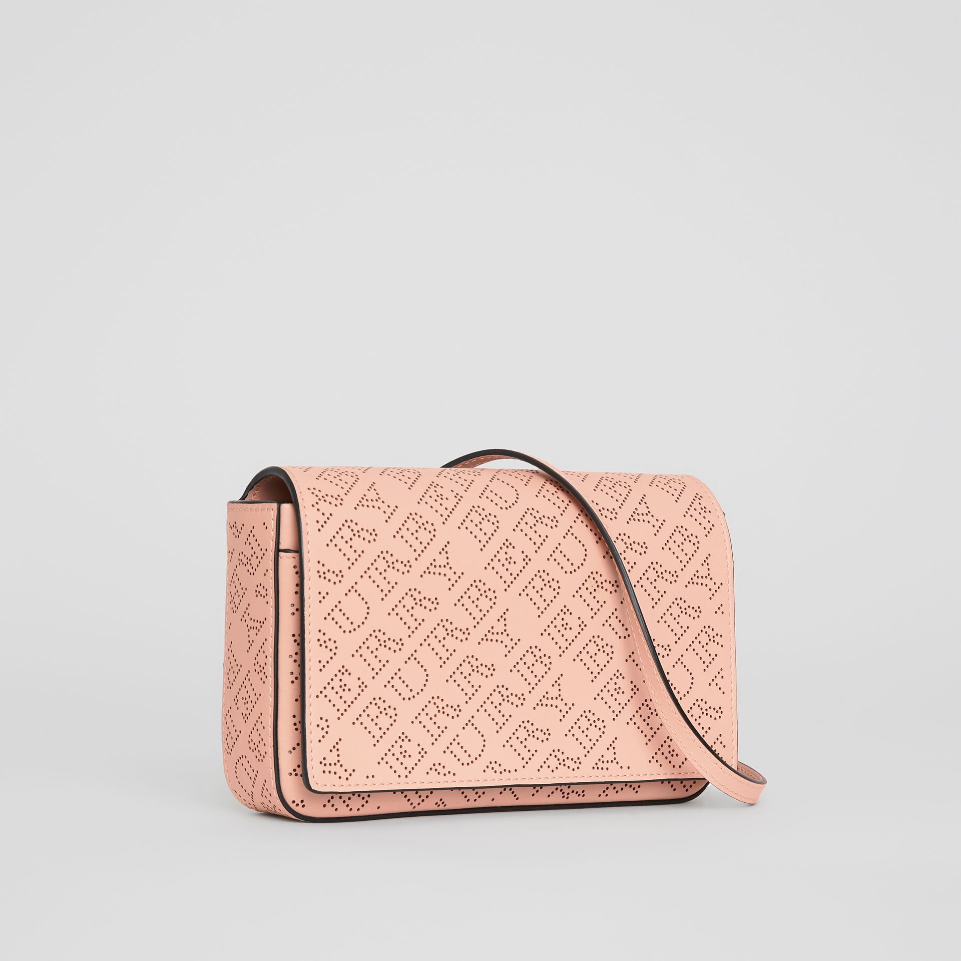 Perforated Logo Leather Wallet with Detachable Strap in Pale Fawn Pink - Women | Burberry United Kingdom - gallery image 5