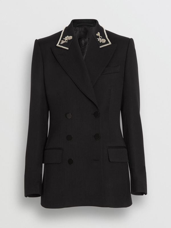 Bullion Stretch Wool Double-breasted Jacket in Black - Women | Burberry Hong Kong - cell image 3