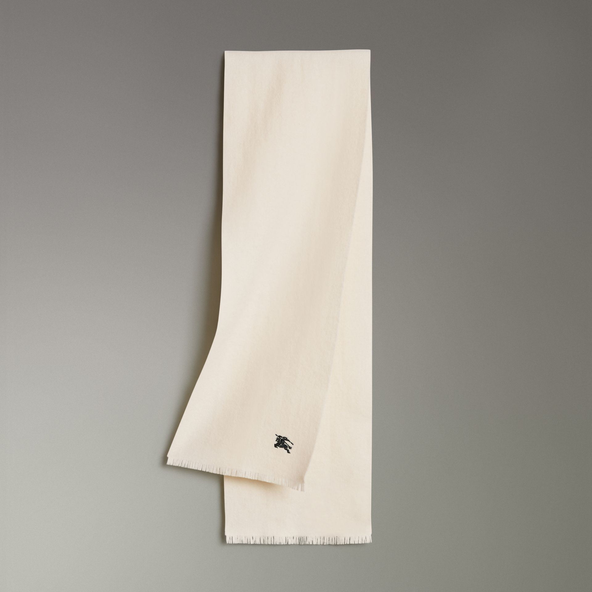 Embroidered Felted Wool Scarf in Ivory | Burberry - gallery image 0