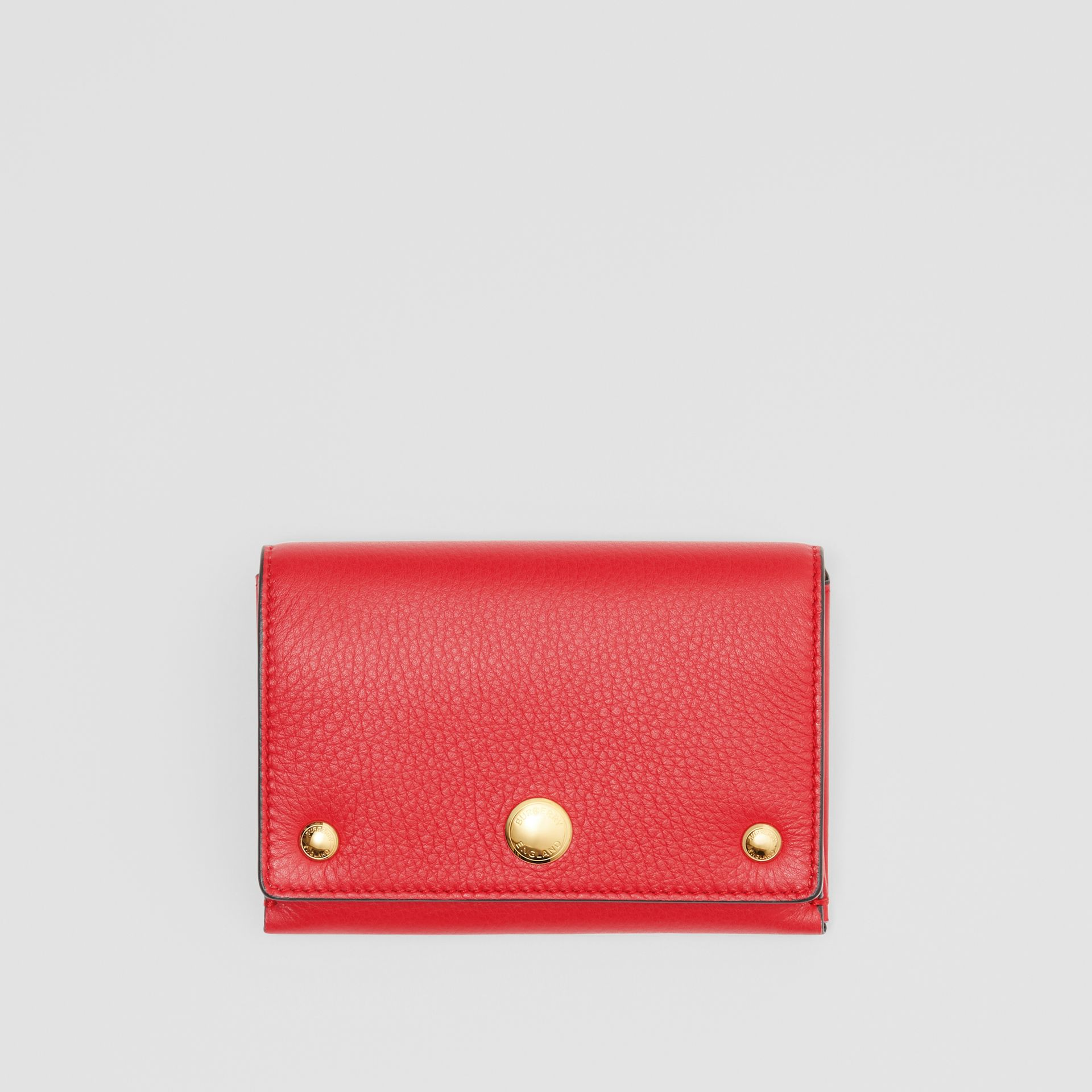 Triple Stud Leather Folding Wallet in Bright Military Red - Women | Burberry Australia - gallery image 0