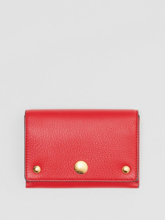 Triple Stud Leather Folding Wallet in Bright Military Red
