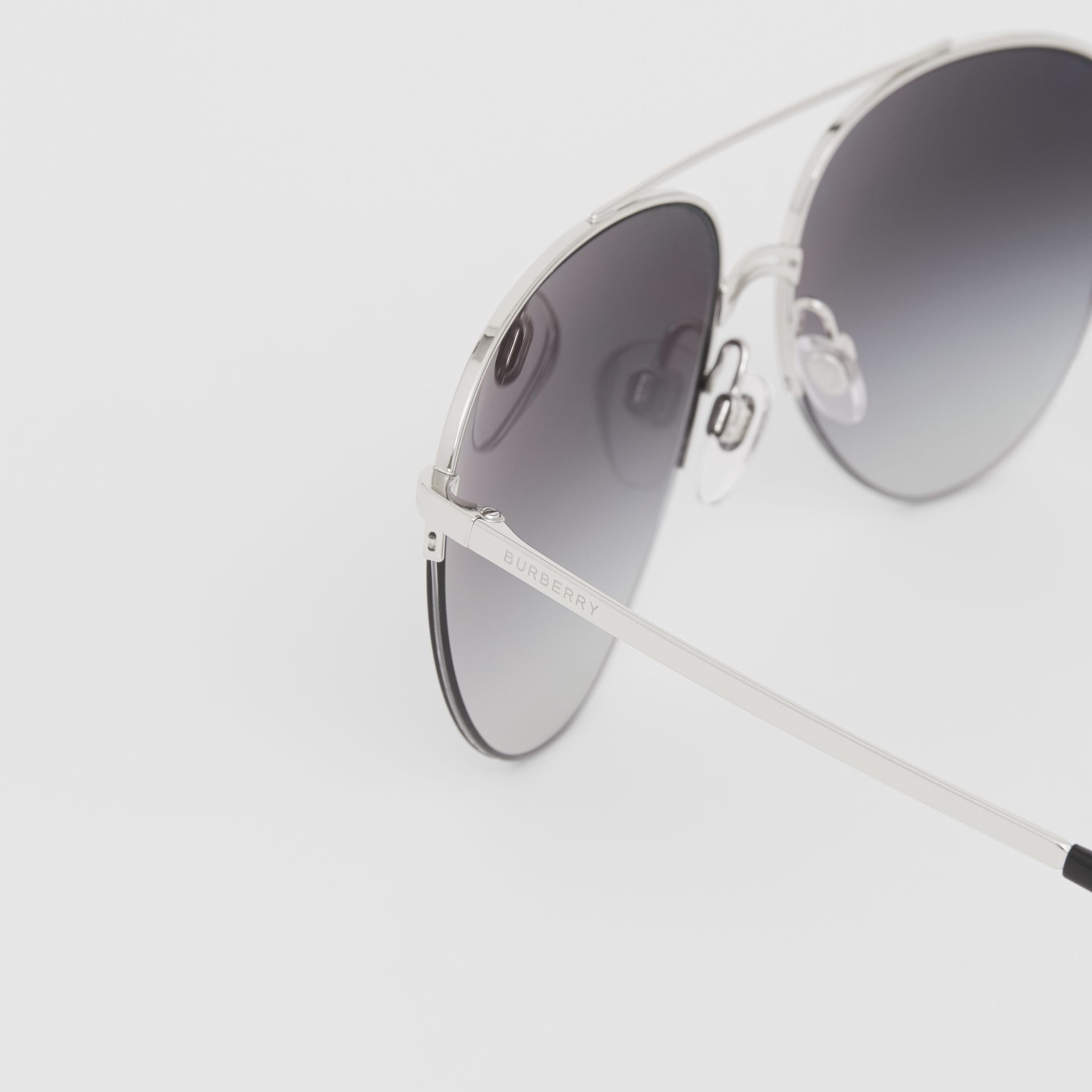 Top Bar Detail Pilot Sunglasses in Dark Grey - Women | Burberry - gallery image 1