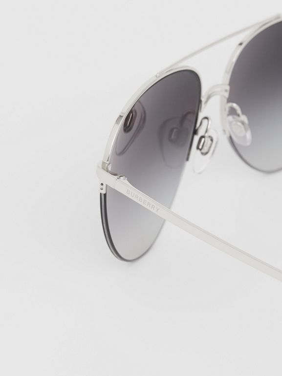 Top Bar Detail Pilot Sunglasses in Dark Grey - Women | Burberry - cell image 1