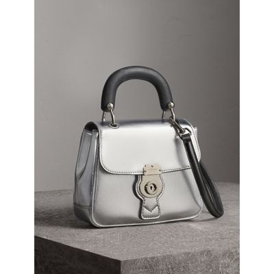 The Small DK88 Top Handle Bag in Metallic Leather in Silver - Women |  Burberry -